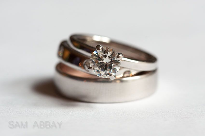 Moissanite engagement ring set recycled gold wedding rings for eco