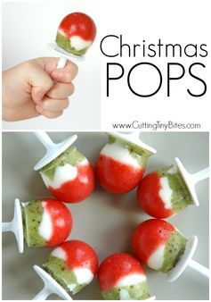 Christmas Popsicles- Healthy Holiday Snack for kids made with fruit and yogurt. From Cutting Tiny Bites