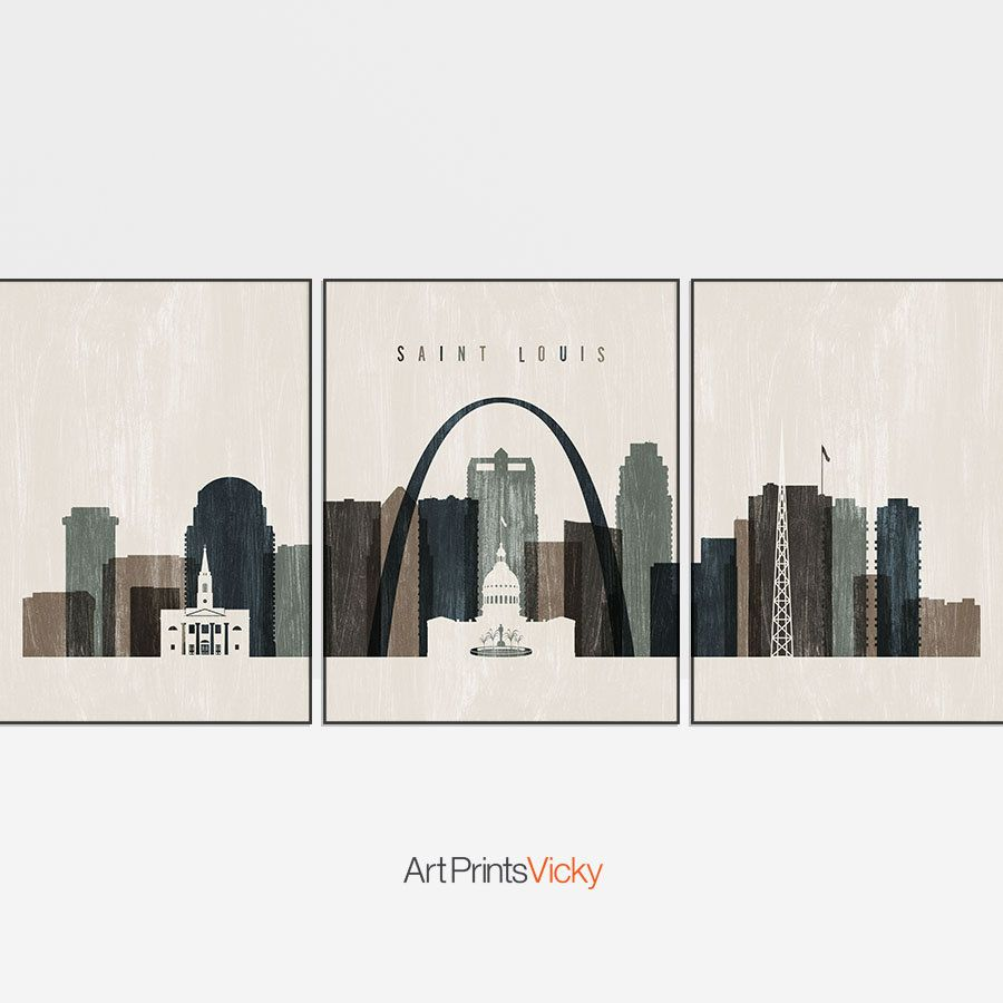 Triptych Of Saint Louis Skyline Saint Louis 3 Piece Wall Art