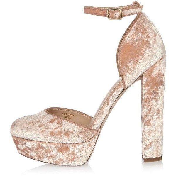 bd2679b3665 River Island Pink velvet platform heels ($110) ❤ liked on Polyvore ...