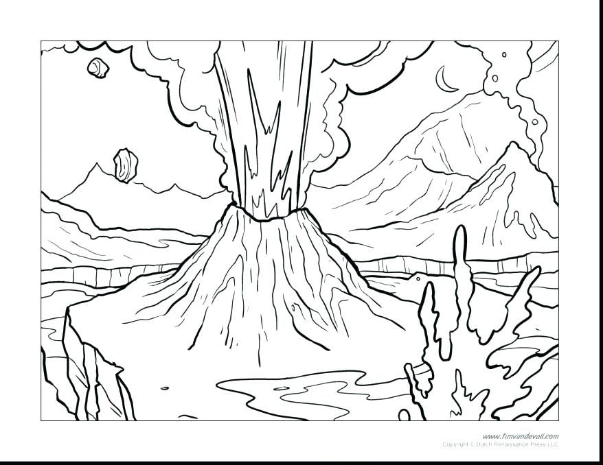 Fresh Coloring Pages For Volcanoes For You Coloring