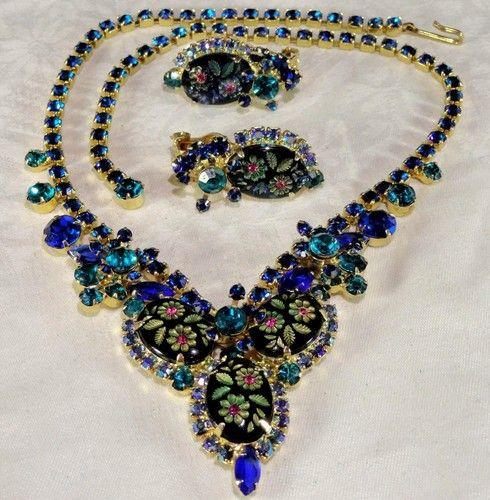 VTG Juliana Blue Black Engraved Stone AB Rhinestone Necklace Earring SET | eBay