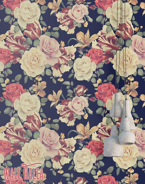 Vintage Rose Flower Wallpaper Removable Wallpaper Vintage Etsy Flower Wallpaper Rose Flower Wallpaper Floral Wallpaper