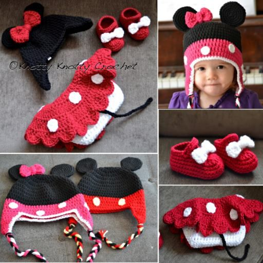 How to DIY Crochet Mickey Minnie Mouse hat and boots Set   Mickey ...