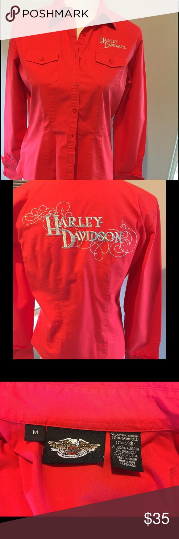 Harley-Davidson button up Women's button up.  Orange reddish color Harley-Davidson Tops Button Down Shirts