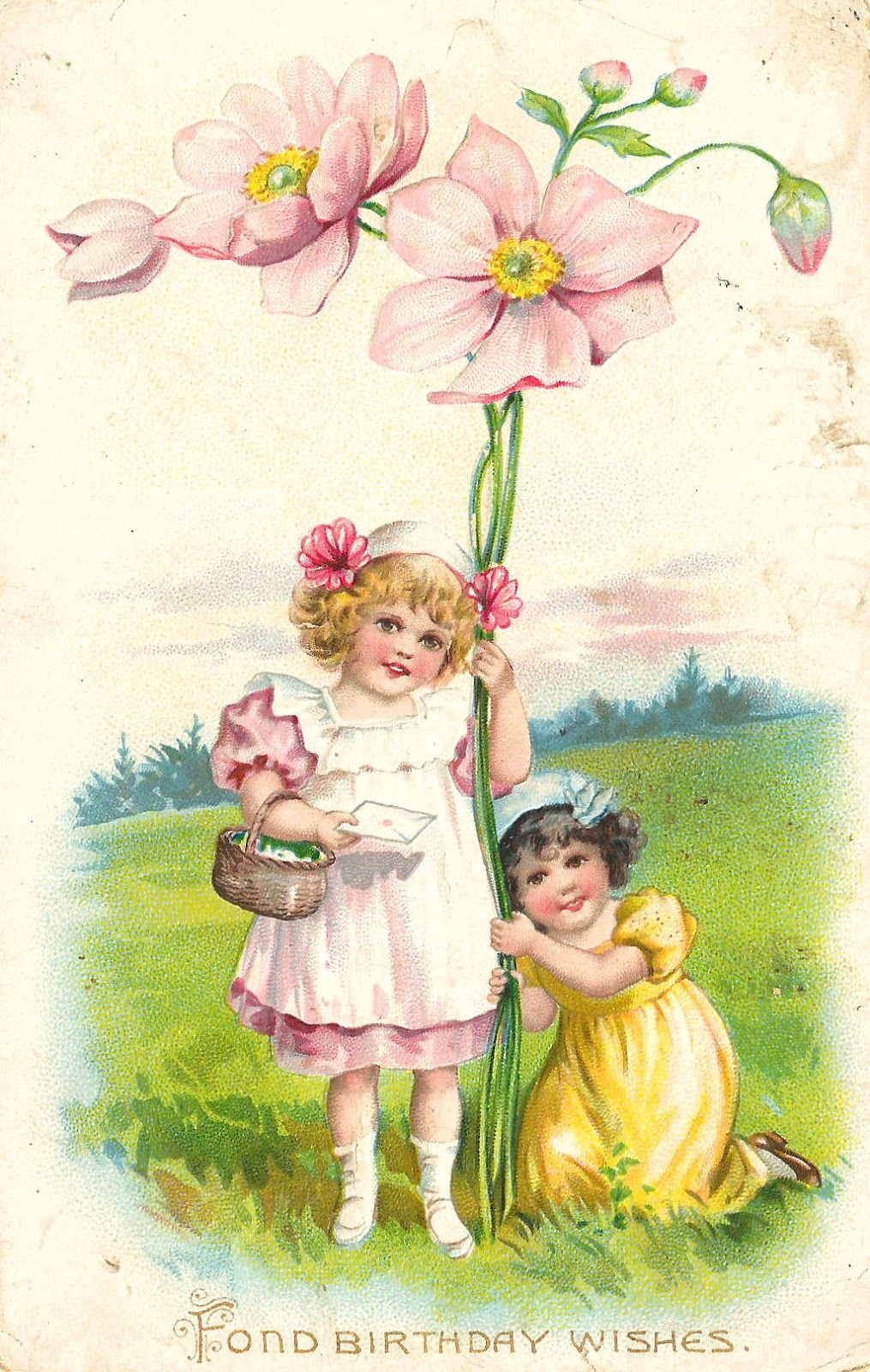 Antique images free vintage graphic pink flower clip art with 2 antique images free vintage graphic pink flower clip art with 2 girls on birthday postcard mightylinksfo