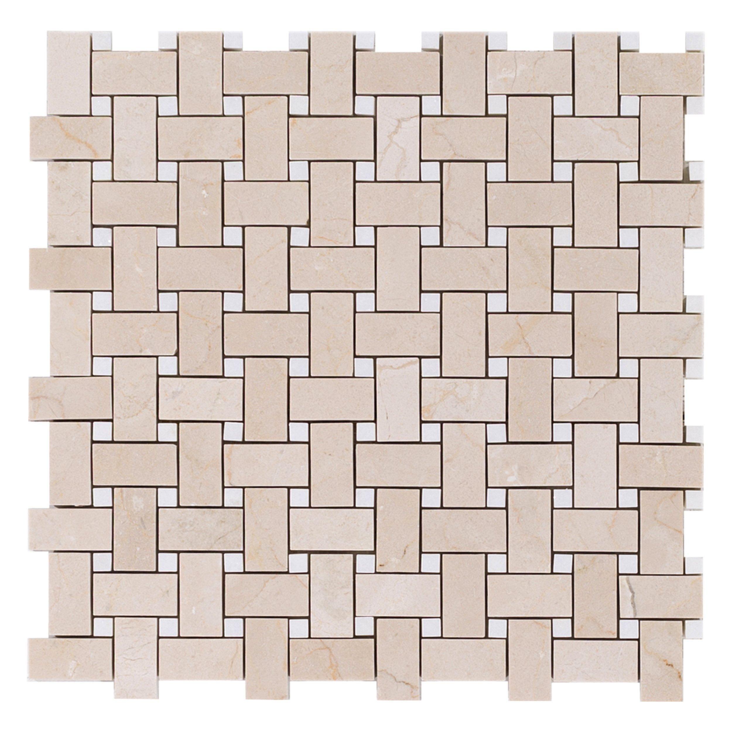 Stone Wall Accent Crema Marfil Floor: Crema Marfil Basketweave Marble Mosaic
