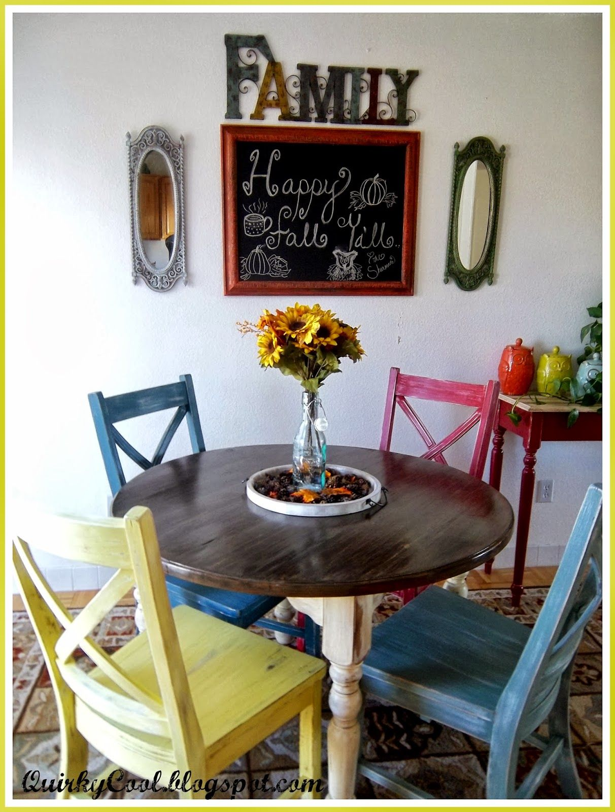 DIY multi colored dinette set! www.quirkycoolliving.com ...