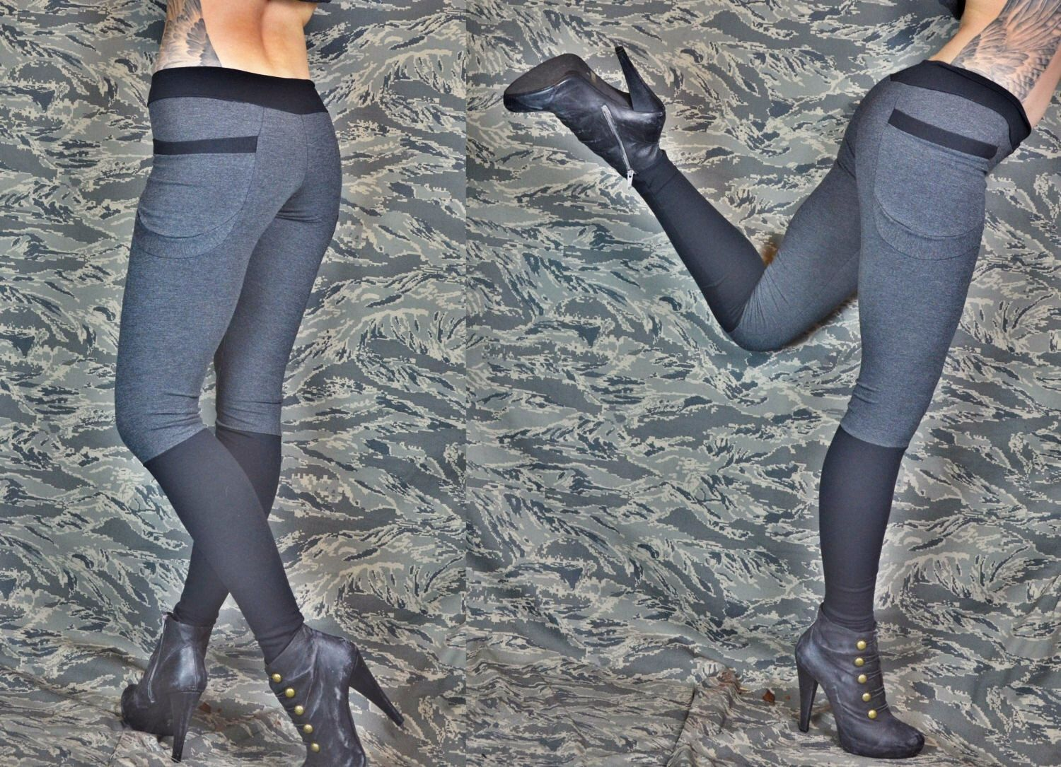 Eco  winter yoga pants with pockets in bamboo- dark gray/black. $90.00, via Etsy.