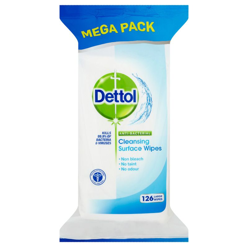 Dettol Anti Bacterial Cleansing Surface Wipes Kills 99 9 Of