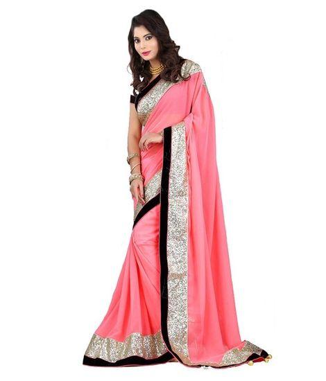 9c0134b8fc Geeta Sarees Multi Color Faux Chiffon Saree - Geeta Sarees Sarees for  indian woman