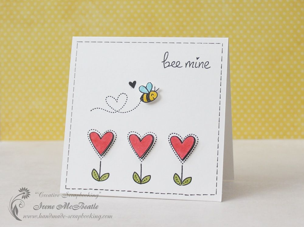 Lawn Fawn Bee Mine sweet CAS Valentine card by Irene at – Bee Mine Valentine Card