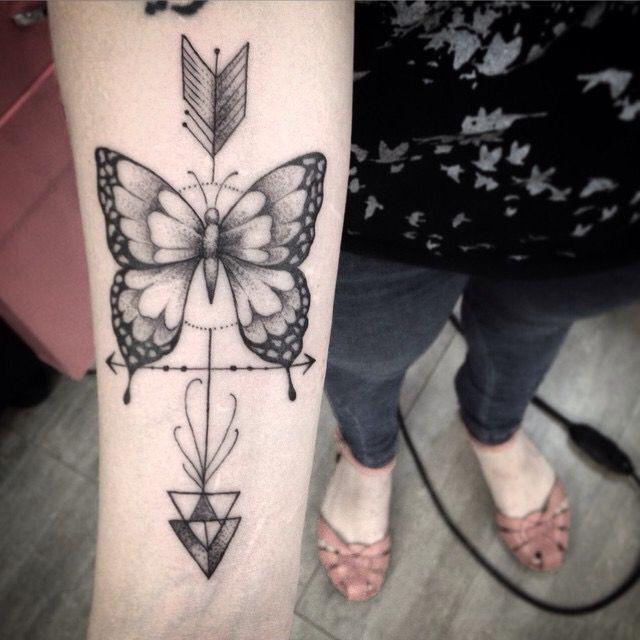 aae77b6a7d031 Butterfly arrow tattoo - arm tattoo - womens tattoo: | Tats | Arrow ...