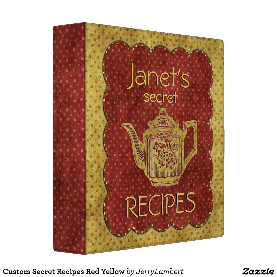 Custom Secret Recipes Red Yellow Binder