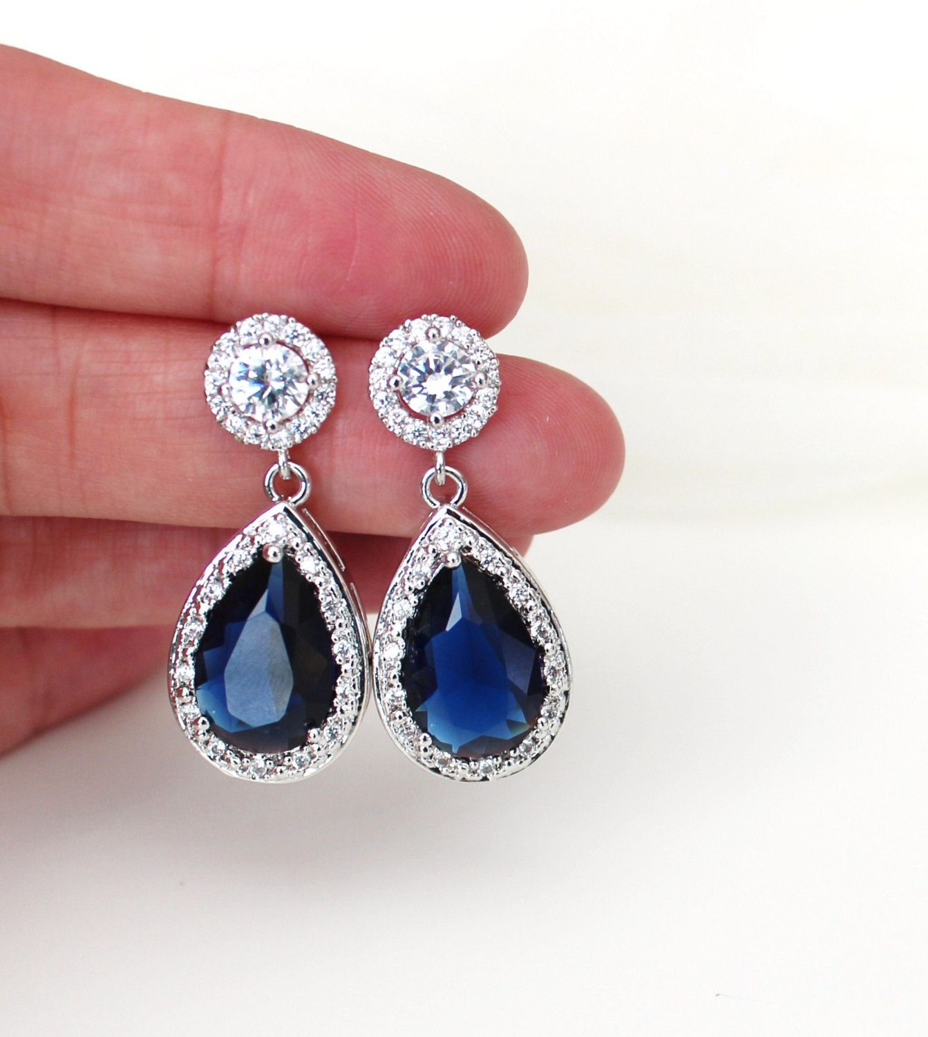 Blue Wedding Earrings Bridal Earrings Blue Wedding Jewelry Sapphire