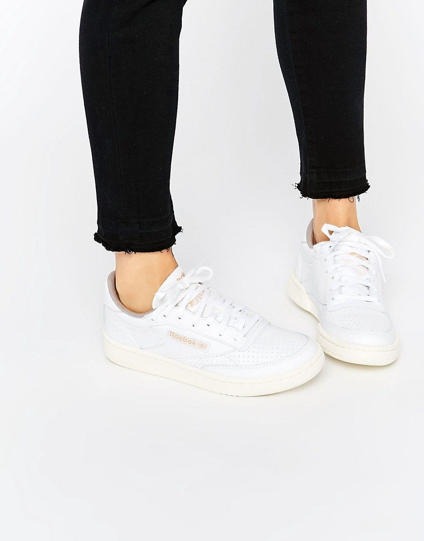 Image 1 of Reebok White Club C 85 Perforated Leather Court Trainer