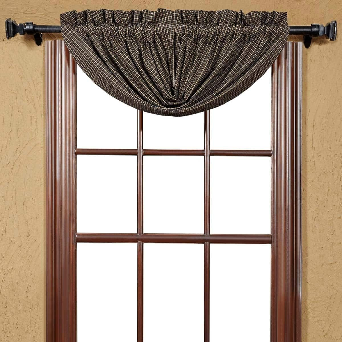 Popular window coverings  vhc brands kettle grove lined plaid balloon valance   products