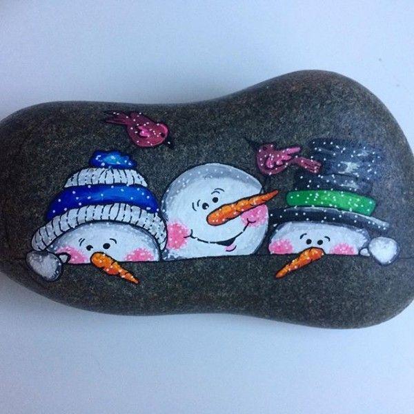 100 kreative Ideen für Steine bemalen in Weihnachtsstimmung ...