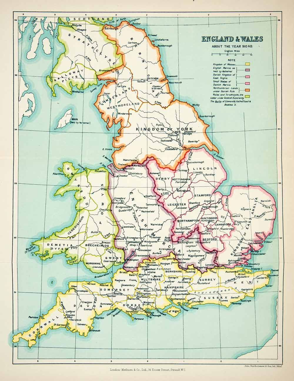 Map Of England Milton.1923 Lithograph England Wales Map Anglia Lincoln Sussex Dorset Devon