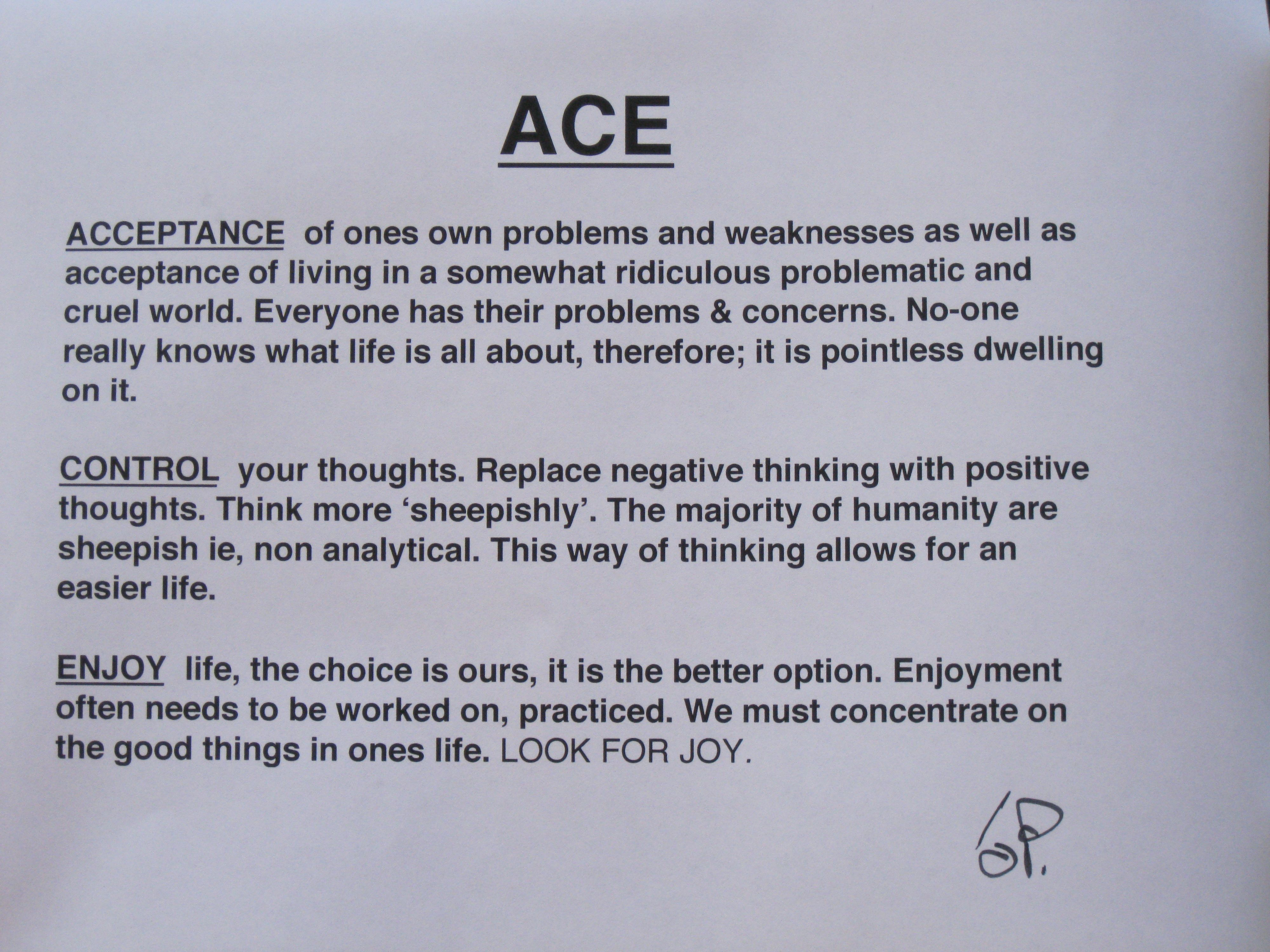 Mental Health    A cceptance  C ontrol  E njoy  = ACE