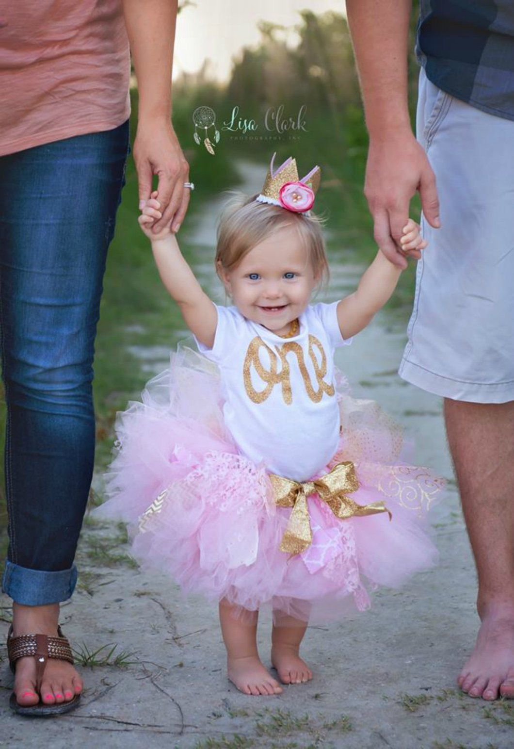 Gold First Birthday Tutu Set With Crown