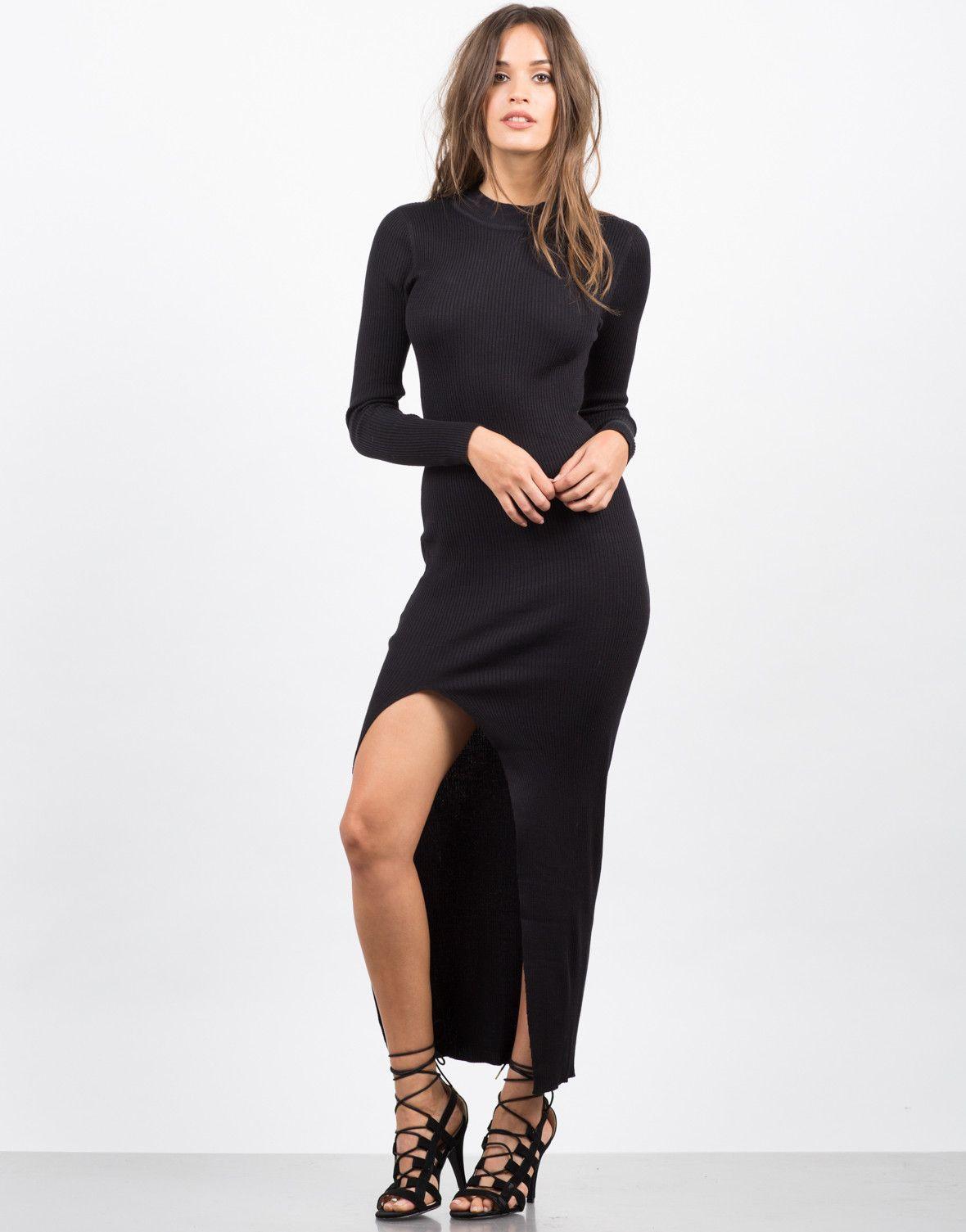a50733edafa Front View of Ribbed Slit Maxi Dress. 2020Ave Black ...