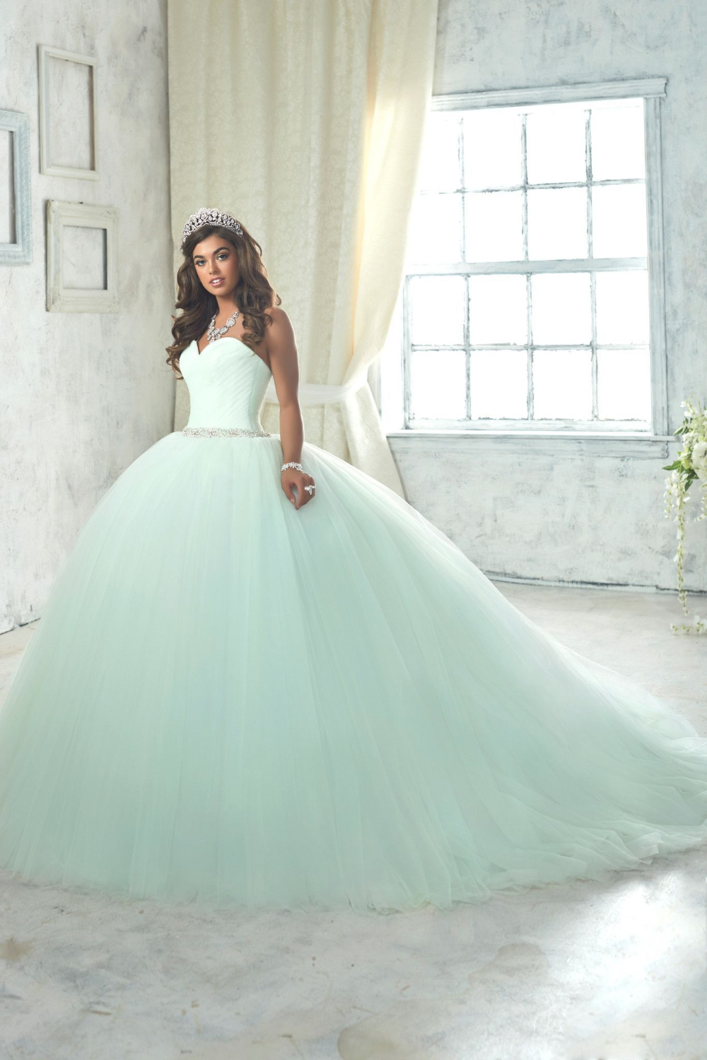 Enticing Mint Green Ball Gown,Sweetheart Tulle Beaded Quinceanera Dresses,Sweet 16 Dresses,Sleeveless Prom Party Gown with Long Train #tulleballgown