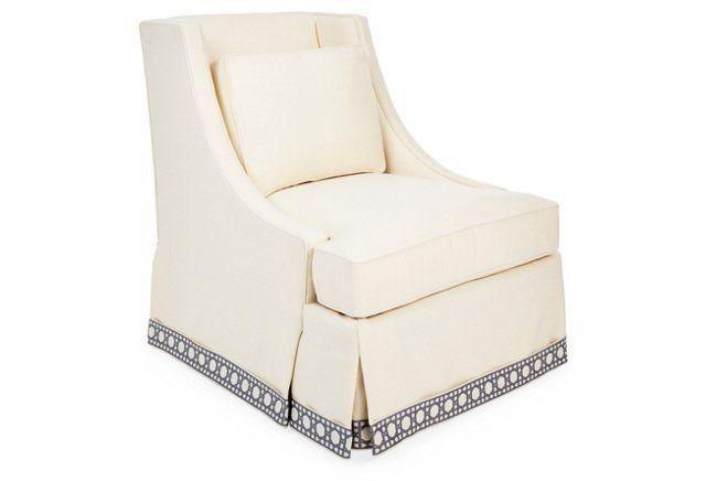 Cheryl Chair, Cream w/ Trellis Trim