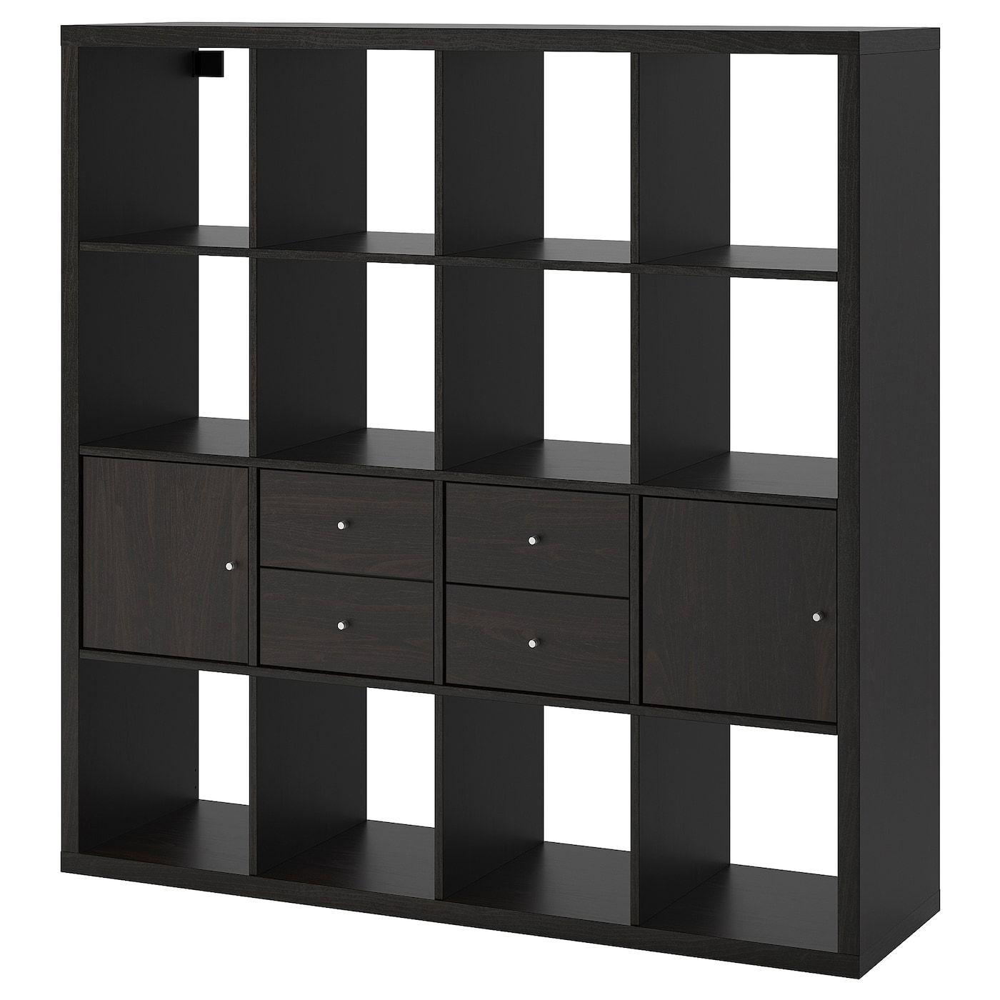 Kallax Regal Mit 4 Einsatzen Schwarzbraun Ikea Osterreich