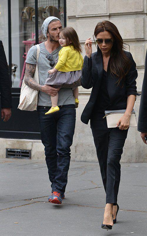 David and Victoria Beckham with Harper 2013