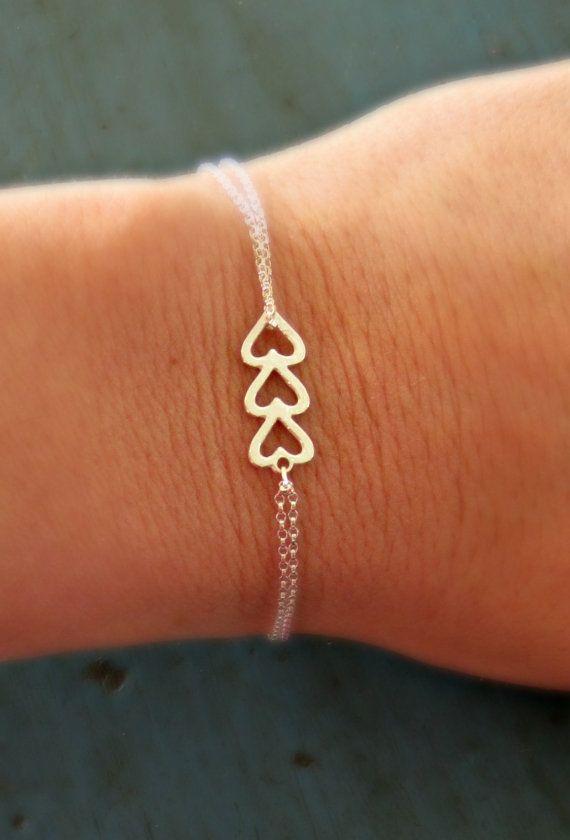 Sterling Silver Heart Bracelet Friendship Triple Jewelry Bridesmaid Gifts Sorority Gift