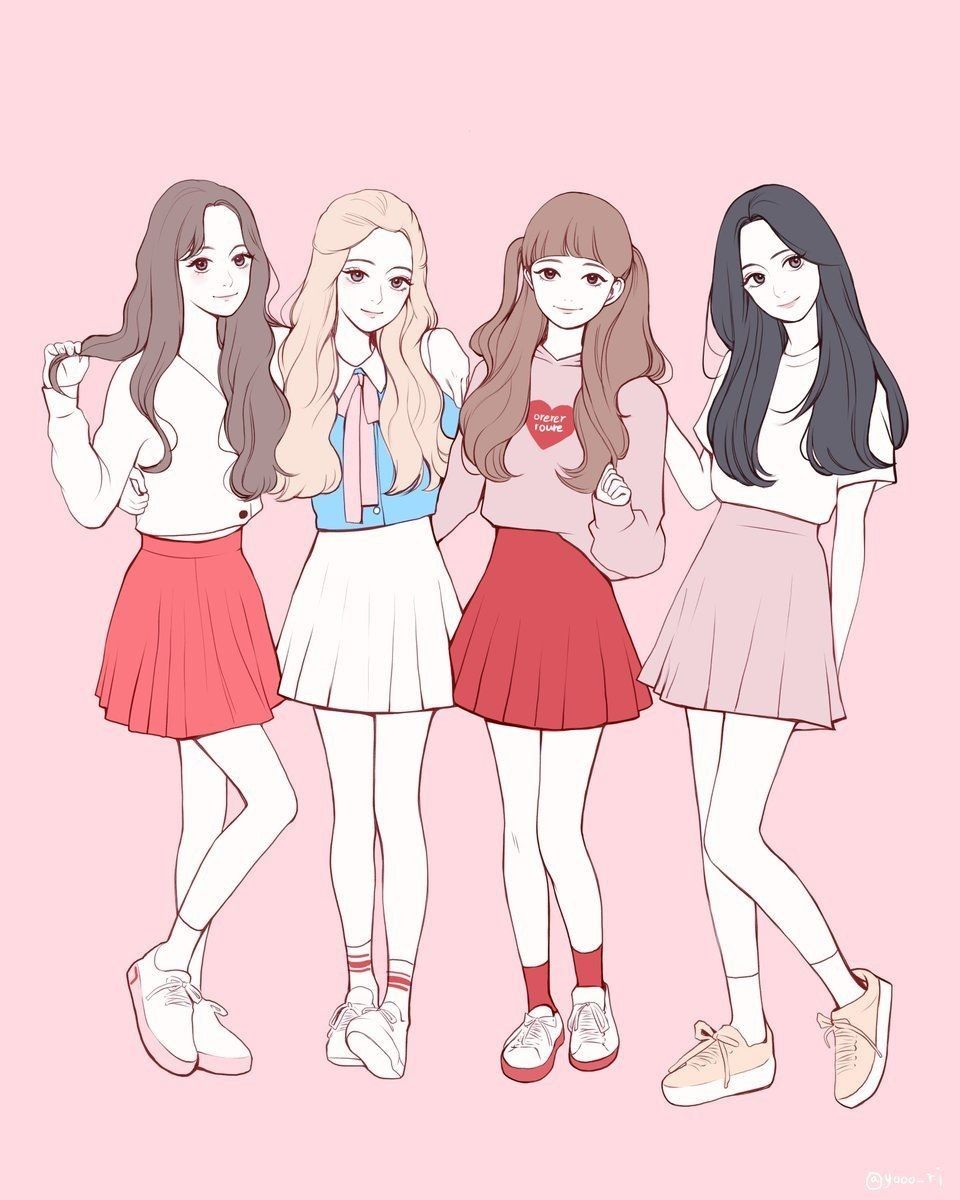 Team Blackpink Di 2020 Gadis Anime Gadis Animasi Ilustrasi Karakter
