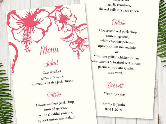 2018 年の wedding menu template hawaii tropical pink coral