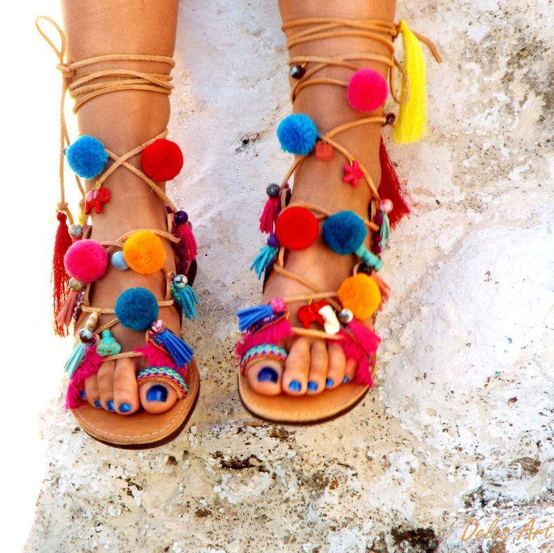 c7dda364c315 SUMMER SALES AIRLIA Pom Pom Sandals Pom Pom Leather Sandals