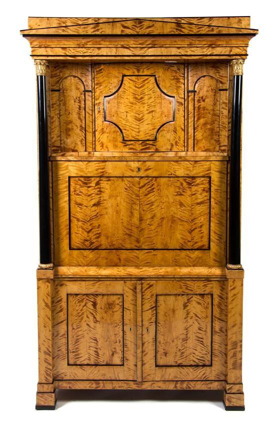 A Biedermeier Gilt Metal Mounted Secretaire a Abattant   Fine Furniture and Decorative Arts Auction