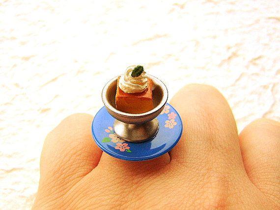 Kawaii Food Ring Cute Japanese  Custard Pudding by SouZouCreations, $10.00