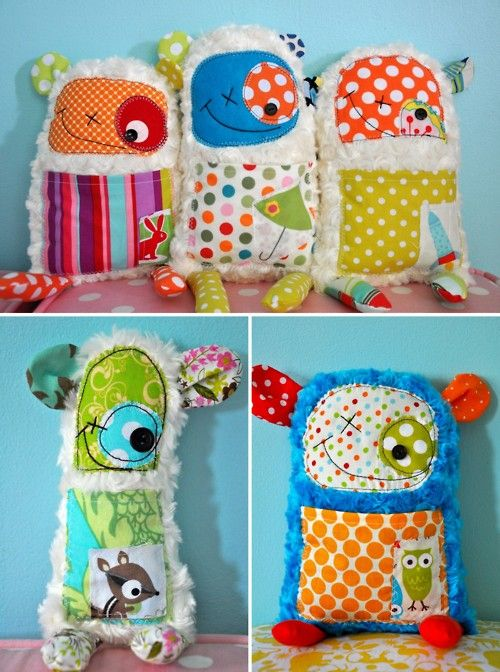 adorable little stuffed monsters made from your keepsakes (baby blanket, first onesie, etc.) $30 on Etsy.... but it looks easy enough to try it at home too.  So fun!