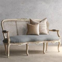 for the hall - Eloquence One of a Kind Vintage Settee Cane Weathered Antique White FESV4802