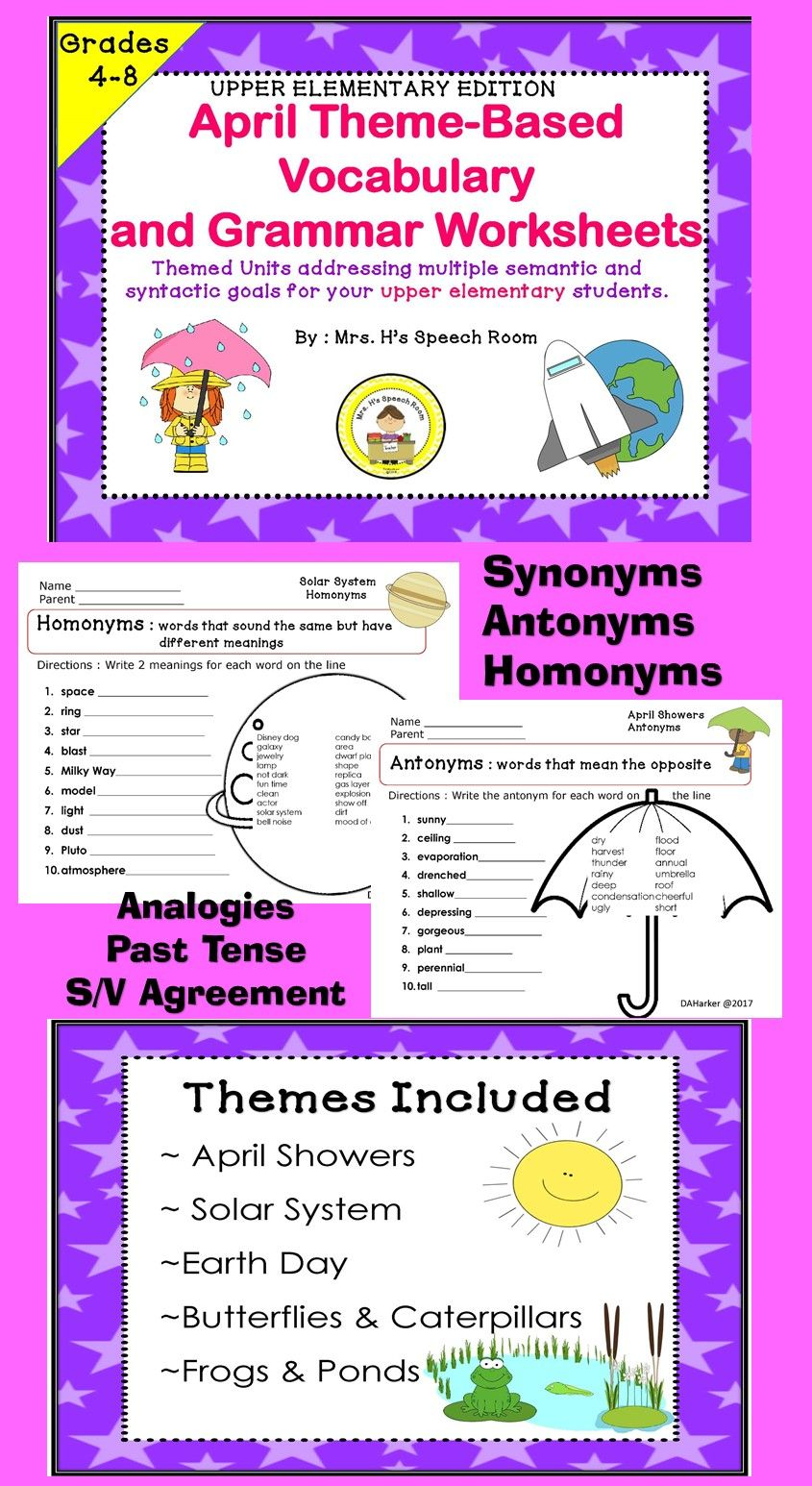 My Students Enjoy These Higher Level Vocabulary Pages April Speech Therapy Speech Therapy Themes School Speech Therapy [ 1546 x 845 Pixel ]