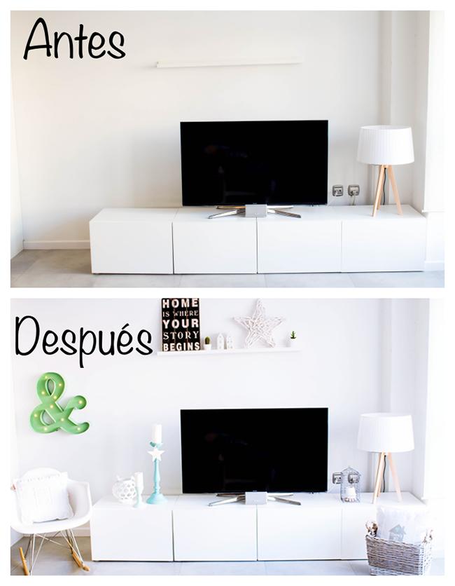 Antes y despu s mi mueble tv desde 0 v deo sorteo for Adornos para poner encima de una mesa de salon