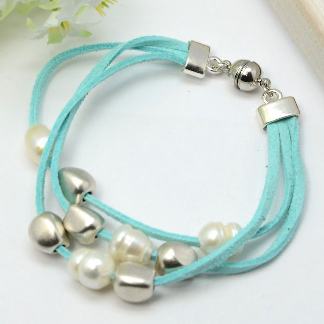 FREE Shipping! Fashion Bracelets,  Faux Suede Cord with Freshwater Pearl Beads,  Tibetan Style Beads,  Aquamarine,  196mm $18.00