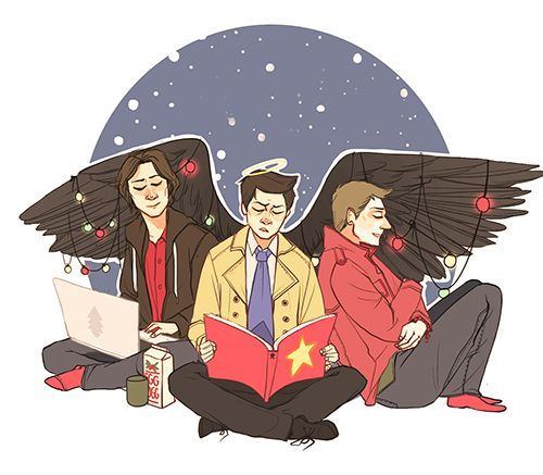 Sam, Dean, and Castiel ||| Christmas ||| Supernatural Fan Art