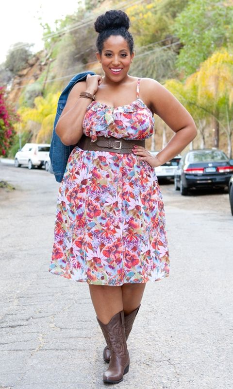 A flirty and feminine plus size sundress in floral chiffon. Take this dress from day to night and back. Pair it with cute flats or your favorite boots for day, and at night some sky-high wedges or sandals!