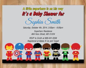Superhero Baby Shower Invitation super hero baby by KidzParty