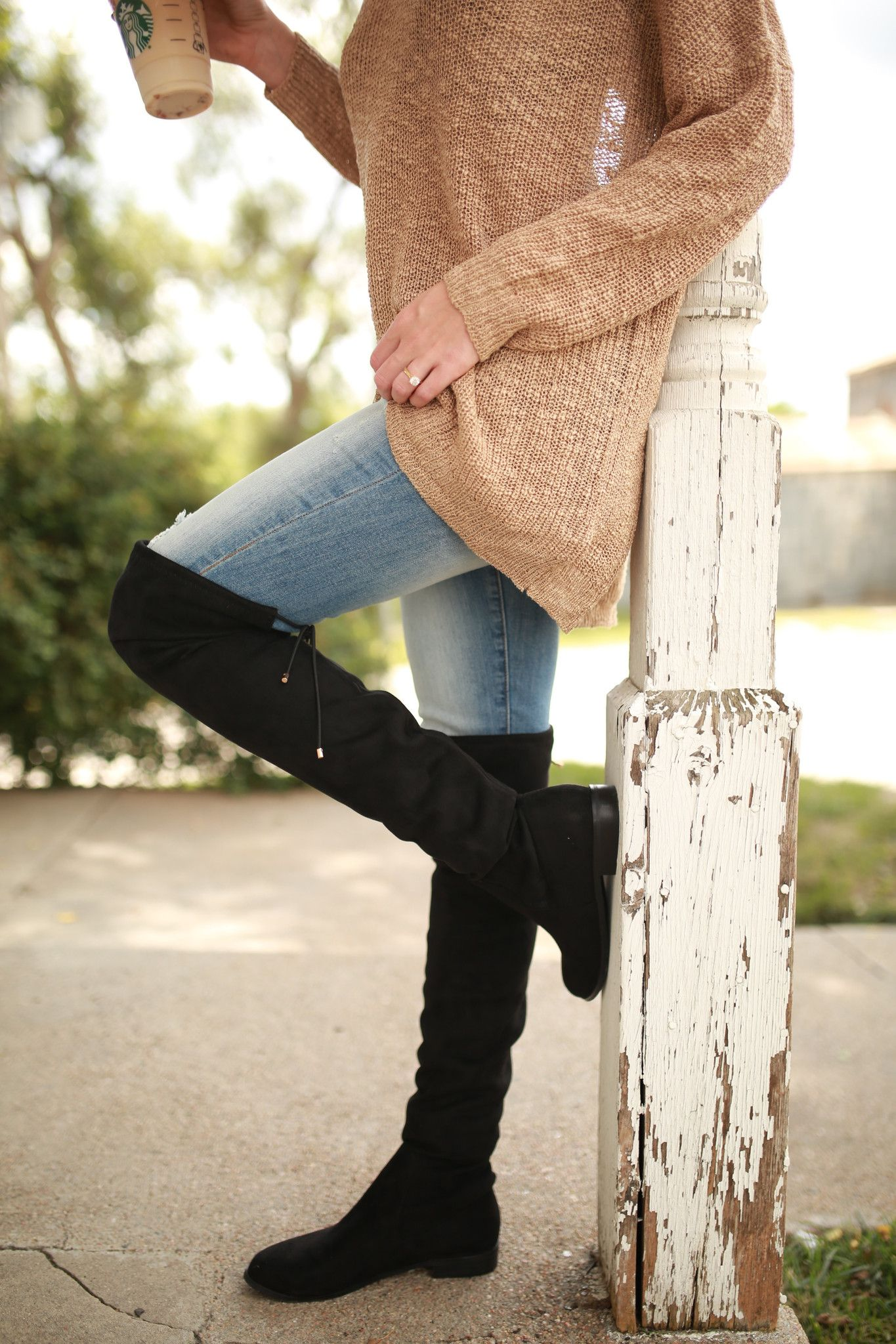 Chinese Laundry Rainey Suede Over The Knee Boots -Black