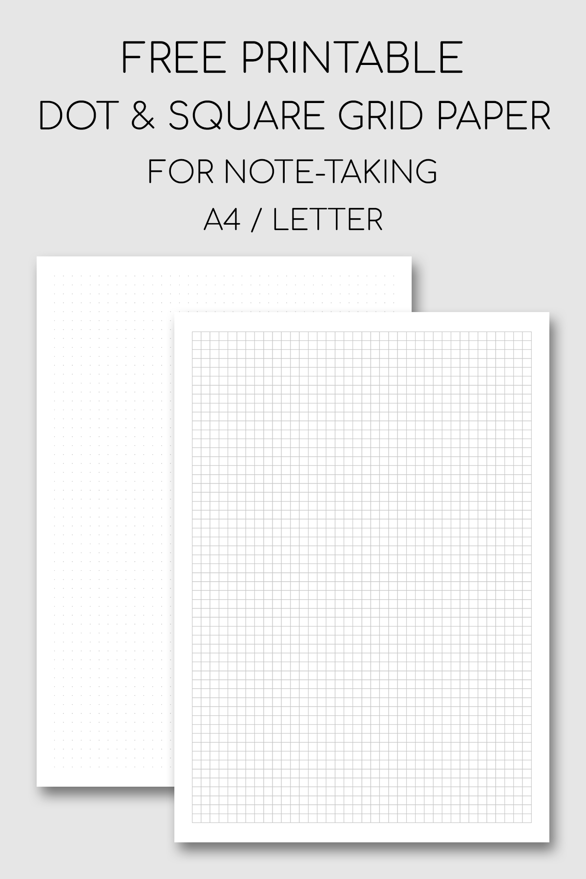 Printable Note Taking Paper Dot And Square Grid Grid Paper Printable Printable Graph Paper Printable Notes