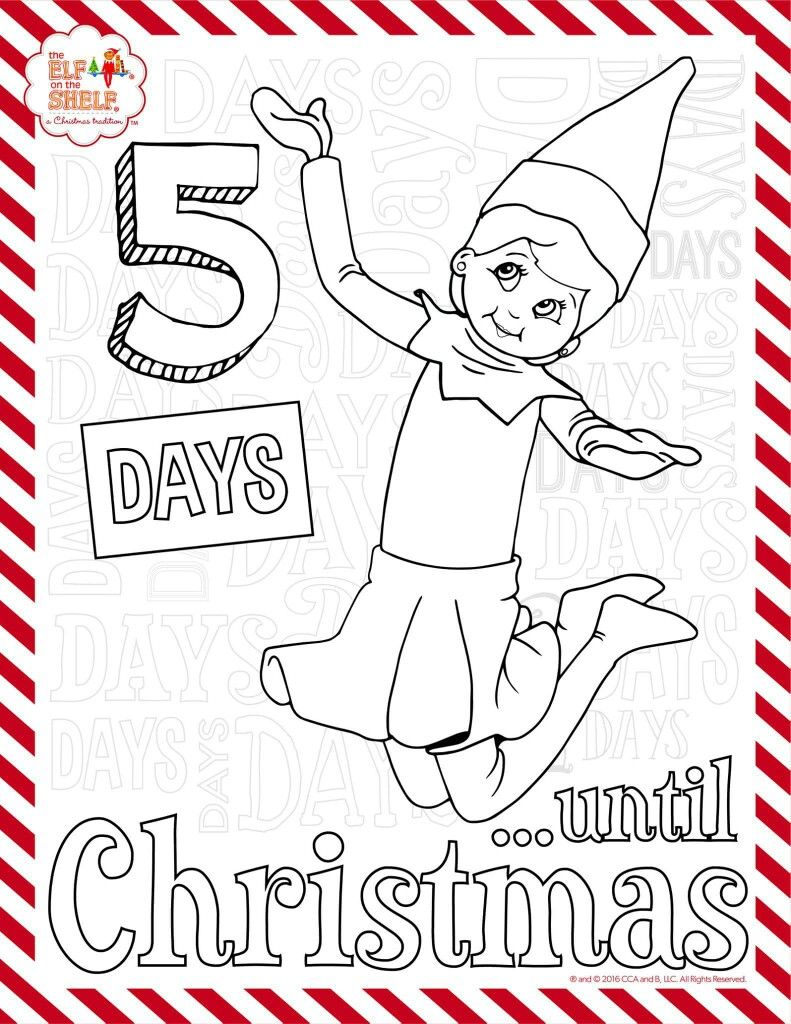 5 More Days Elf On The Shelf Coloring Sheet Christmas Coloring Books Awesome Elf On The Shelf Ideas Elf Fun