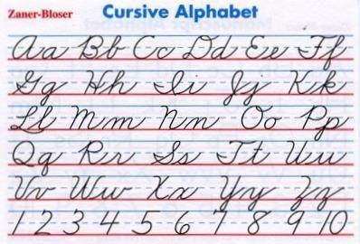 Image result for zaner bloser cursive chart