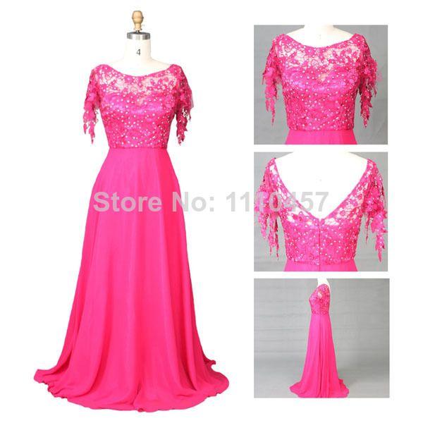 Free Shipping Choiyes 2014  Lace Stitching Satin Beading Halter Sweep Train Long Evening Dress $254.32