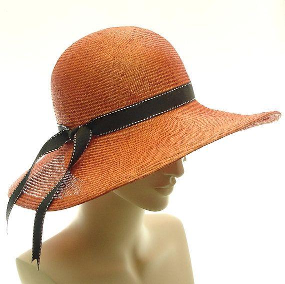 2cac1b61cb5f2 Orange WIDE BRIM HAT for Women   Sun Hat   Straw Hat Handmade by ...